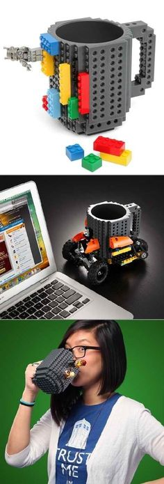Design, and redesign your cup every day, courtesy of LEGO! i want this so bad!