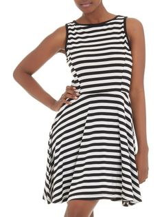 Love the shape of this striped monochrome skater dress from Tashkaya (R499)