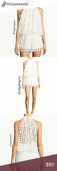 """🆕 White Eyelet Popover Romper Beautiful white popover romper fully lined except the back is sheer. Popover lightly gathered top with button keyhole back. Shorts have a 3"""" inseam. Romeo + Juliet Couture size chart in last photo. Romeo & Juliet Couture Other"""