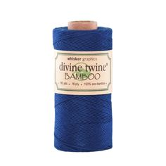 Divine Twine Eco-Bamboo, Solid Navy. 100% Bamboo. 180 Yards per spools. 18-Ply. Earth Friendly.
