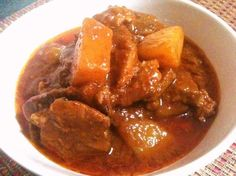 This Beef Asado dish is rich in flavour due to the slow cooking of the beef with all the ingredients. The beef can be cooked to tenderness a day before, so you can skim off the fat. Do not use pressure cooker for this dish. This is a very versatile dish. It can be served with rice, bread or boiled potatoes.