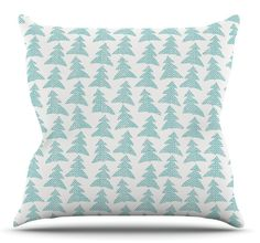 Herringbone Forest Teal by Michelle Drew Throw Pillow