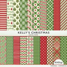 Kelly's Christmas Digital Paper  20 sheets  Holiday  by KHDigi