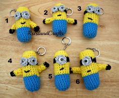 Crochet Minion inspired key chains | rsislandcrafts - Novelty on ArtFire