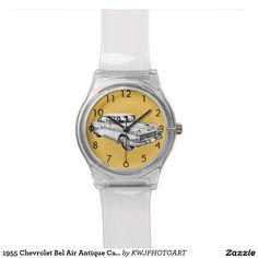 1955 Chevrolet Bel Air Antique Car Illustration Wrist Watches.Customize It.100% Guarantee.....