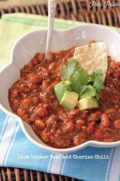 Slow Cooker Beef and Chorizo Chili, comforting and so simple for weeknight dinners!