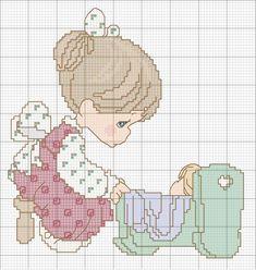 Schema punto croce bimbo-in-culla cross stitch baby cross st Beaded Cross Stitch, Cross Stitch Baby, Cross Stitch Charts, Cross Stitch Designs, Cross Stitch Embroidery, Hand Embroidery, Cross Stitch Patterns, Precious Moments, Cross Stitch Silhouette