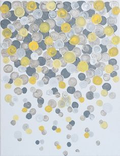 gray yellow swirls-- love it!  This could so easily be recreated with any color scheme.  What an easy piece of original art work!