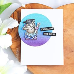 Hello there and welcome to day two of the May 2019 Clearly Besotted teasers. Today I have a card to share with you using the new Wise Owl . Star Stencil, Stencils, Wise Owl, Graduation Cards, Hero Arts, Copic Markers, Watercolor Paper, Teaser, Book Lovers