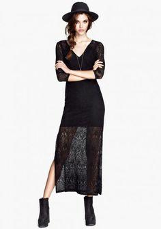 Black V Neck Long Sleeve Split Lace Dress