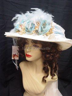 Downton Edwardian Victorian style womens hat baby blue & Ivory 1406 #ElsieMassey #EdwardianVictorian #ReenactmentSpecialevent
