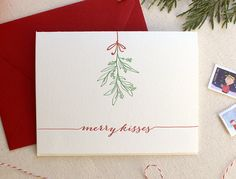 Letterpress Holiday Card - Single Card or Set of 6 - Merry Kisses with Hand Drawn Mistletoe