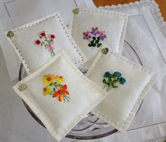 Hand embroidered lavender drawer sachets