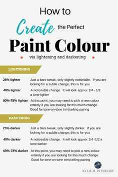 How to lighten and darken paint colours to find the best depth by Kylie M Interiors E-decor and online colour consulting services