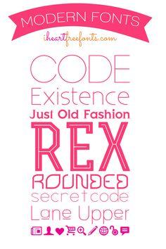 Free Modern Fonts via iheartfreefonts  ~~ {8 free fonts w/ easy download links}