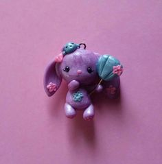 Pastel Purple Bunny With Seashell Balloon Polymer Clay Charm