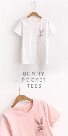 Bunny/Rabbit Pocket Tees - in White or Pink. Bunny / Rabbit Pocket Tees - in Weiß oder Pink. Pocket Tees, Kids Fashion, Womens Fashion, Couture, Kind Mode, Diy Clothes, Bunny Rabbit, What To Wear, Style Me
