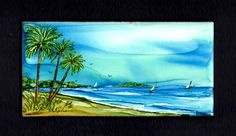 """Alcohol ink on 3x6"""" tile by Jewel Buhay"""