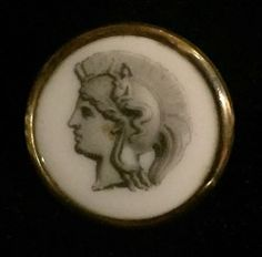 Gorgeous, Antique, Porcelain in Brass, Liverpool Transfer Button.Pictorial God with Helmet Adorned with a Critter of Some Sort.NBS medium measuring 15/16 in diameter.Excellent condition with no chips Liverpool Transfer, Liverpool England, Helmet, Porcelain, Chips, Pottery, Buttons, Brass, God