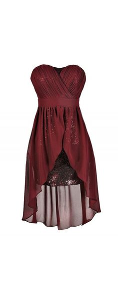 Darby Sequin and Chiffon High Low Dress in Burgundy  www.lilyboutique.com