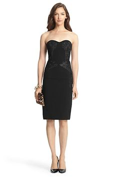 DVF Isabella Strapless Lace Detail Dress In Black