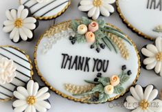 Floral thank you cookies by MintLemonade (Cookie Crumbs) Thank You Cookies, Fancy Cookies, Iced Cookies, Cute Cookies, Easter Cookies, Royal Icing Cookies, Cupcake Cookies, Cookies Et Biscuits, Sugar Cookies
