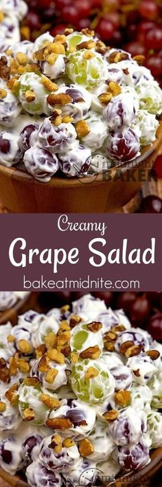 a salad everyone can get into! Sweet juicy grapes in a creamy cheesecake-like dressing. Perfect for snacking.Here's a salad everyone can get into! Sweet juicy grapes in a creamy cheesecake-like dressing. Perfect for snacking. Dessert Salads, Fruit Salad Recipes, Salad Dressing Recipes, Dessert Recipes, Creamy Fruit Salads, Cheesecake Fruit Salad, Dressing For Fruit Salad, Fruit Appetizers, Jello Salads