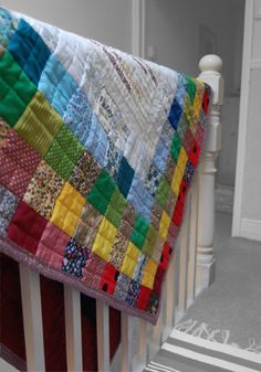 Personalised Baby/Children's Quilt // Handmade in Patchwork Rainbow colours // Hand-Embroidered Name/Birthdate & Text Panels available // from €80.00, via Etsy.