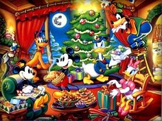 Disney Christmas get together with Donald Daisy Mickey Minnie Goofy and Pluto