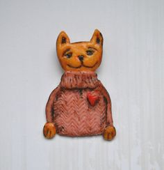 Cat Brooch Polymer clay handmade Unique Brooch cat with by Payiz