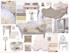 French Provincial white and cream neutral inspiration French Provincial, Inspiration Boards, Colorful Decor, Armchair, Neutral, Luxury, Antiques, Collages, Australia