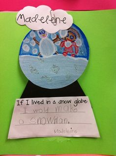 We read The snow globe family by Jane O' Connor. The kids brought in snow globes for show and tell to observe, then we made these darling snow globes