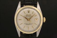 Rolex Datejust Big Bubble in Stahl/Gold (ca. 1951)  Lederarmband, Weißes Zifferblatt, Strich Indexe, Gelbgold Lünette  Referenz: 6106 | 0,79 Mio-Serie  http://www.juwelier-leopold.de/uhren/rolex/vintage_2.html