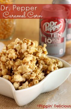 """""""Skinny,"""" creamy caramel popcorn flavored with Dr. Pepper TEN. Only 4 ingredients, and less than 200 calories per serving. #drinkTEN #shop"""