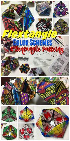 Flextangle STEAM Art Project: Fusing Math and Art, Hexaflexagon , Color Schemes & Pattern, Middle School & High School Art STEAM Lesson