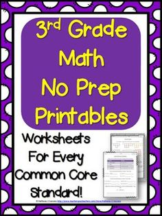 This 3rd grade math worksheets document includes 26 easy-to-print math worksheets for 3rd grade math. Every common core standard has a separate math worksheet. Standards include all areas: operations and algebraic thinking, number and operations in base ten, numbers and operations - fractions, measurement and data, and geometry.