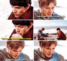 """Arthur and Merlin: """"I had no idea you were so keen to die for me."""" """"Trust me, I can hardly believe it myself."""""""