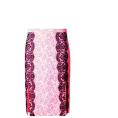 Christopher Kane Lace-trimmed floral-print skirt (22.315 RUB) ❤ liked on Polyvore featuring skirts, pink, pink floral skirt, floral printed skirt, pink pencil skirt, christopher kane and floral print skirt