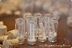 Message in a Bottle Party Favors.  So cute for a beach themed party or wedding!  Would be great for a mermaid or pirate party too!