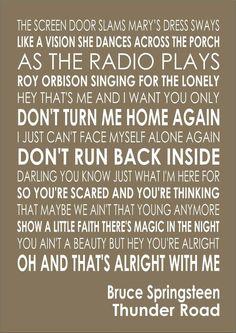 Thunder Road - Bruce Springsteen Lyrics Song Verse Lyric Wall Art Typography