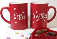 Learn how to Decorate Mugs with Iron-on Vinyl and a Cricut even if you don't have a special heat press. Create these cute Valentine's Day Mugs with the cut file provided.