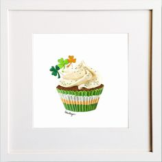 Irish Cupcake Print Irish Design, Framed Prints, Art Prints, Pigment Ink, Colour Schemes, Watercolor Paper, All The Colors, Card Ideas, Cupcake