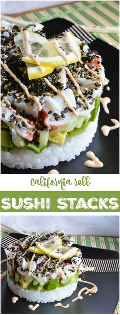 Homemade Sushi Stacks have all of the great flavors of a California Roll! This recipe is perfect for parties, special occasions or a fun dinner night. No special equipment needed! Omit crab and use vegan mayo. Sushi Recipes, Seafood Recipes, Cooking Recipes, California Roll Sushi, California Rolls, Sushi At Home, Sushi Love, How To Make Sushi, Homemade Sushi