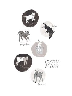 Popular Kids. A print featuring six juvenile goats (kids) that represent the most popular domestic goat species in the United States -- the