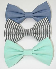The Blues Hair Bow Set or Bow Tie Set Mint Green por BarberShoppe