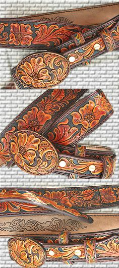 Gun belt buckle tooled leather ranger type heavy duty hand carved Sheridan-floral F_M Leather Belt Buckle, Tooled Leather, Leather Belts, Leather Tooling, Belt Buckles, Used Saddles, Belt Holder, Holsters, Leather Projects