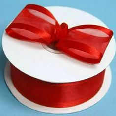 "25 Yard 1.5"" DIY Red Organza Ribbon With Satin Edges For Craft Dress Wedding"