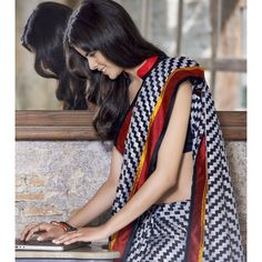 Organic Cotton Linen Printed Saree for office goers (1007)