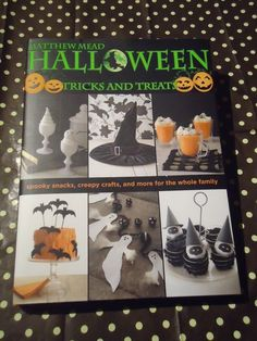 Halloween Crafts&Recipes DIY Book by Mathew Mead Halloween Tricks & Treats Such a great book filled with all sorts of DIY (do-it-yourself) decorating, cooking, baking, sewing ideas for Halloween Haunted/Fun Houses, Costumes, Candy, Treats, & cool Tricks too! There's patterns, recipes, and it comes with the templates in the back of the book so you can copy and cut out making following the directions on DIY stuff way easy!!  Check it out, nice good quality hard bound book makes a col gift too!