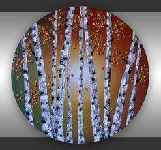 "Original Contemporary Art, Textured Birch Tree Abstract  Acrylic Painting  20"" Round Canvas Ready to hang Aspen Tree Wall Decor"